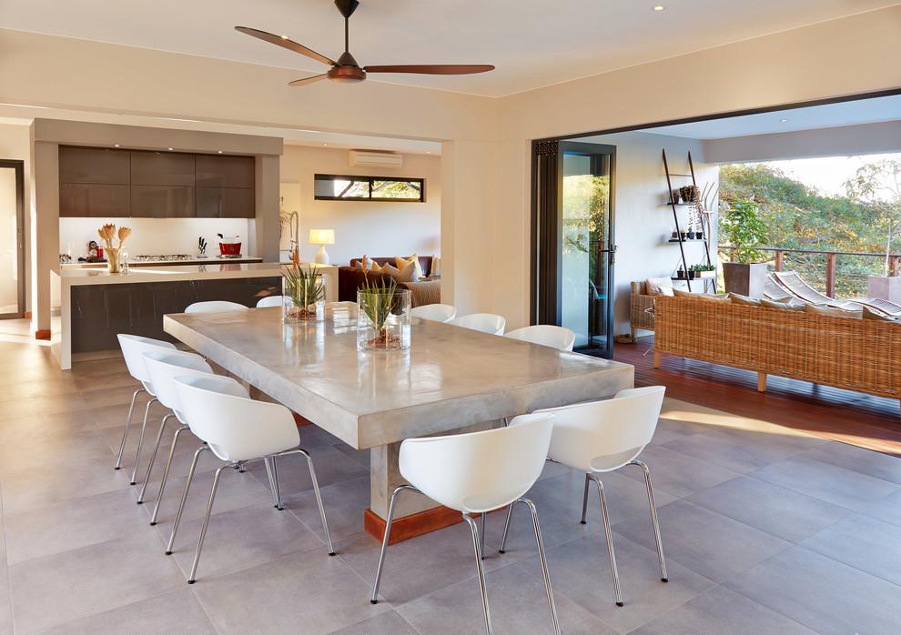 Trendy great room photo with beige walls