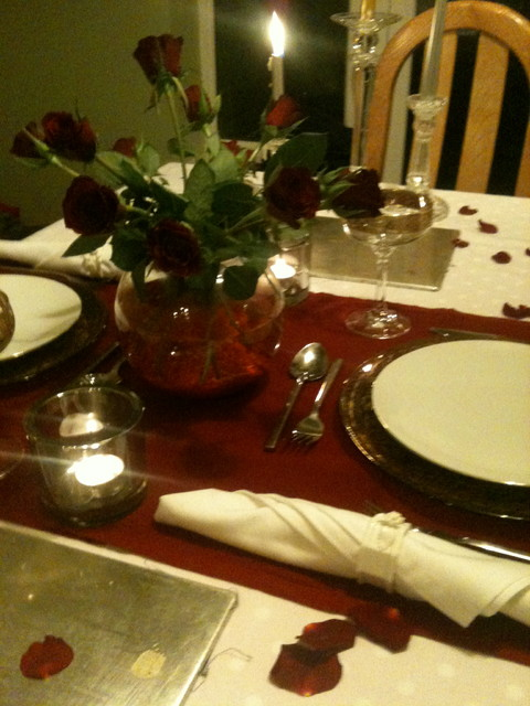 Simple Valentines Day Table Scape