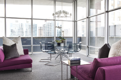 Living Room with Radiant Orchid Furniture