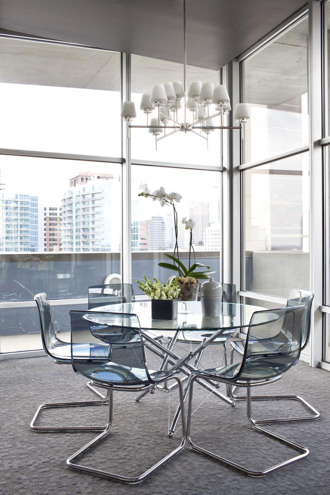 Dining room - contemporary carpeted dining room idea in Atlanta
