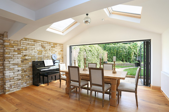 Skylights Fiood This Kitchen Extension With Light Rustic Dining Room