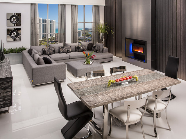 Skyscraper Rectangular Dining Table Contemporary Room