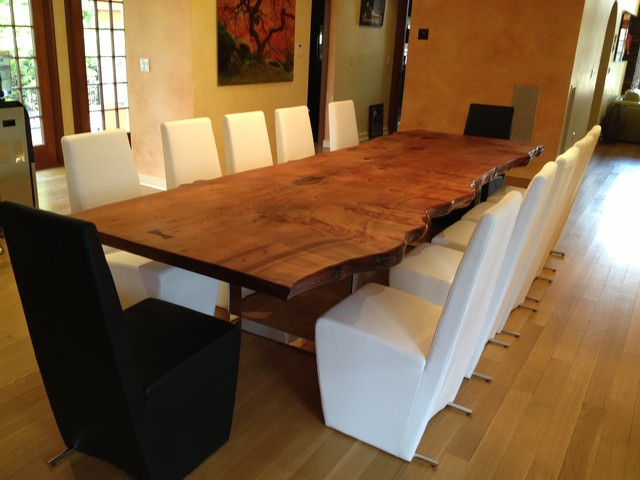 Slab dining table traditional dining room new york for Unique wood dining room tables