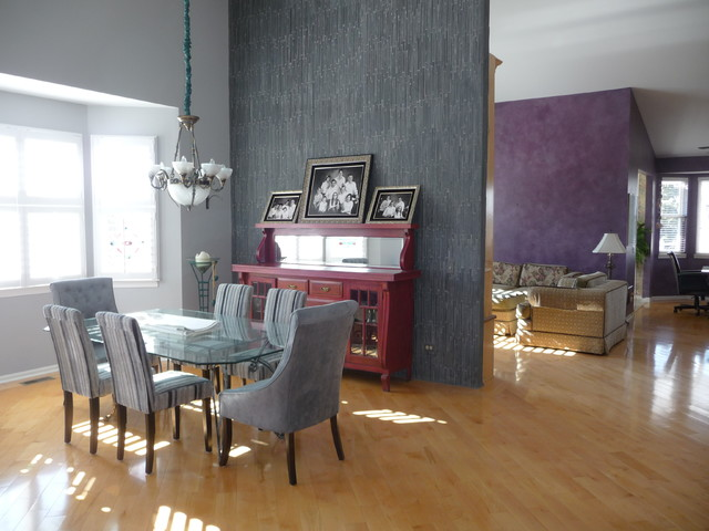 Slate tile wall contemporary dining room chicago for Dining room tile designs