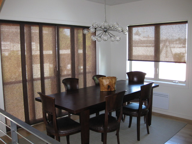 Sliding panels roller shades modern dining room for Modern dining room window treatments