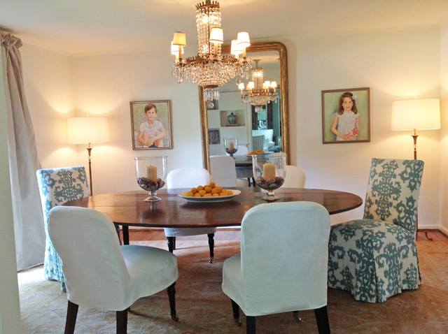 slipcovered chairs for the dining room eclectic dining