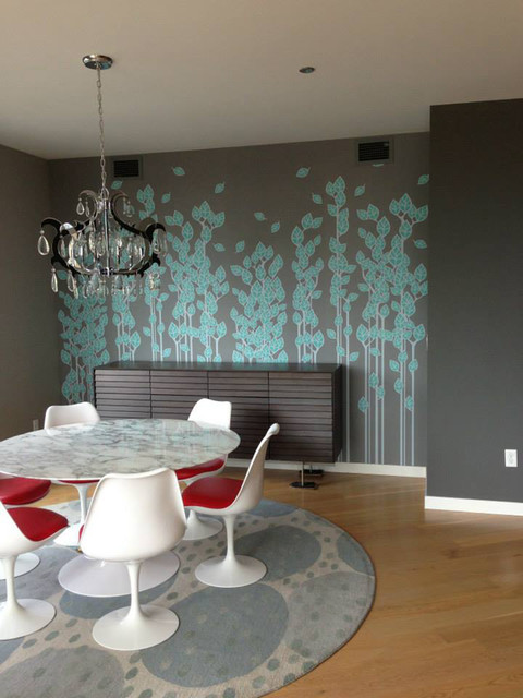Small Batch Wallpaper Pattern Axil Modern Dining Room