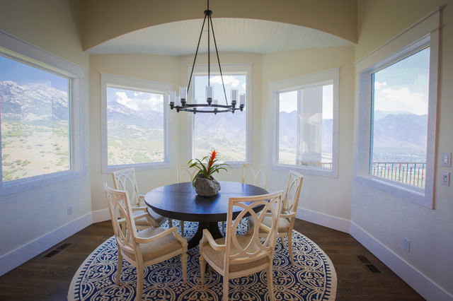 Inspiration for a large medium tone wood floor kitchen/dining room combo remodel in Salt Lake City with beige walls