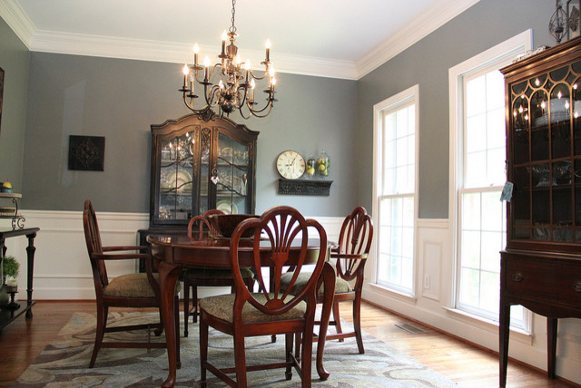 Smoky Blue Dining Room with Brown and Black accents Eclectic