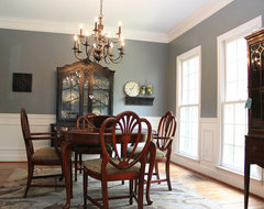 Smoky Blue Dining Room with Brown and Black accents eclectic dining room