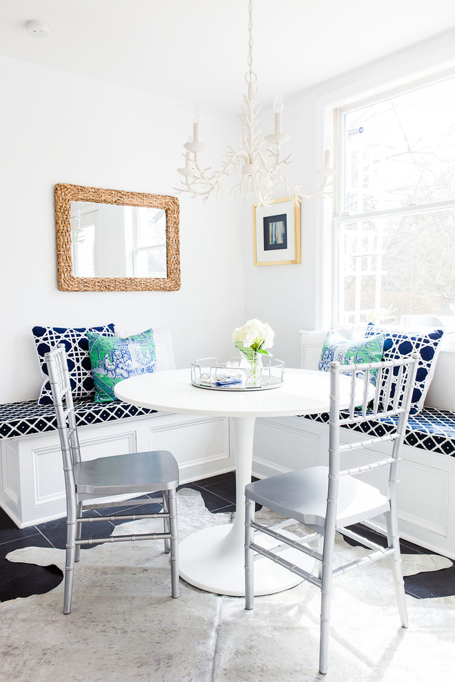 Kitchen/dining room combo - transitional kitchen/dining room combo idea in Philadelphia with white walls