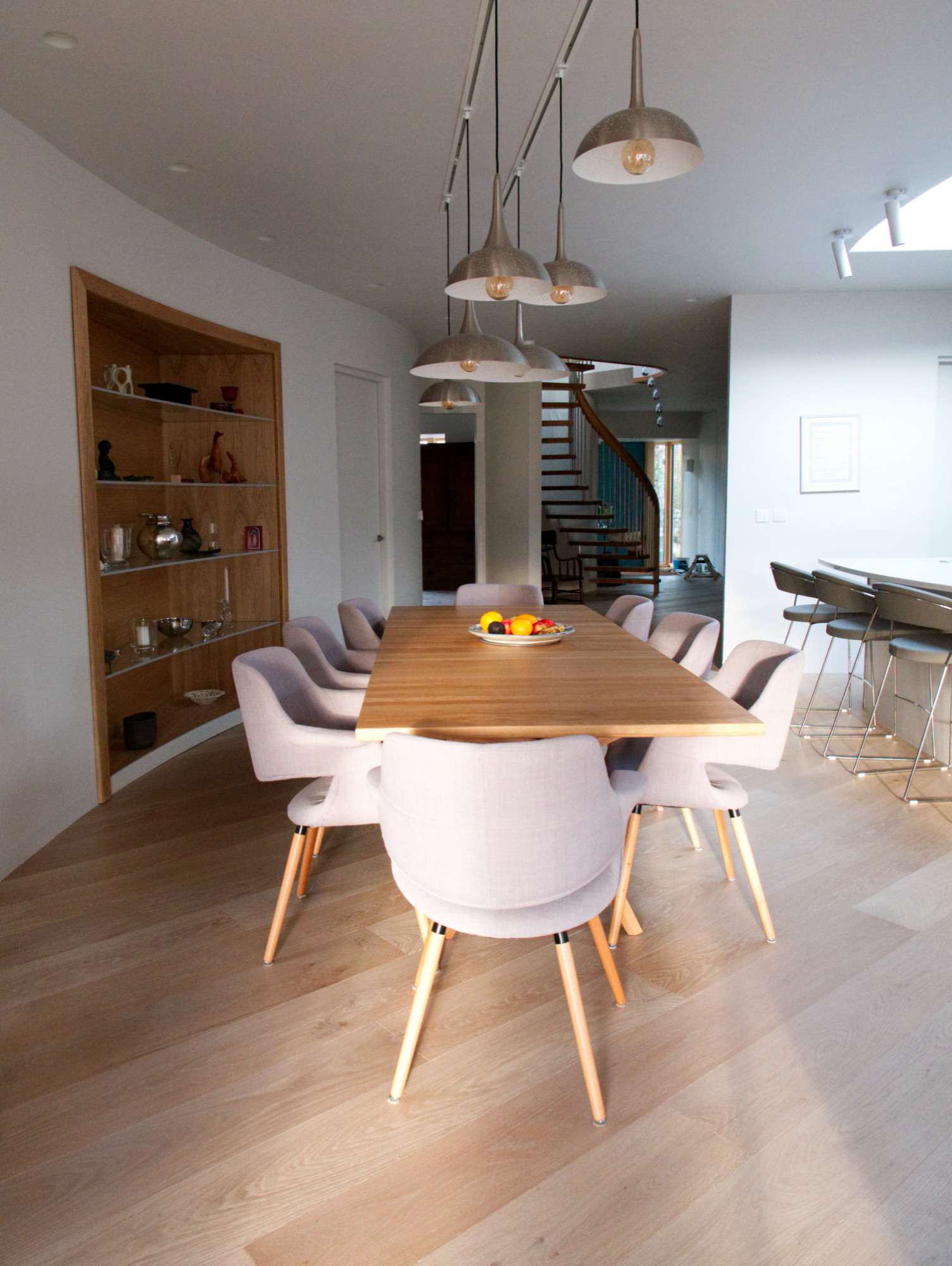 Soft colour palate in the open plan dining area