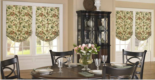 Soft Roman Shades -- Made in California transitional-dining-room