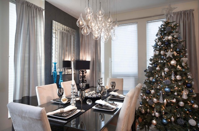 Trendy Dining Room Photo In Toronto With Gray Walls