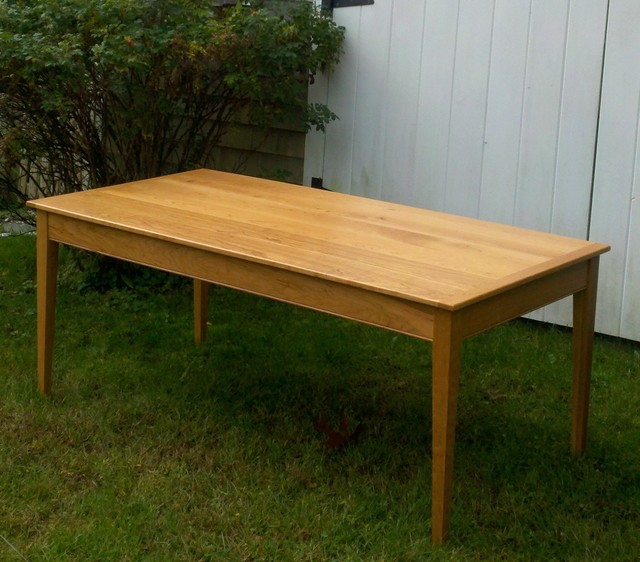 Solid cherry dining table traditional dining room for Cherry dining room table