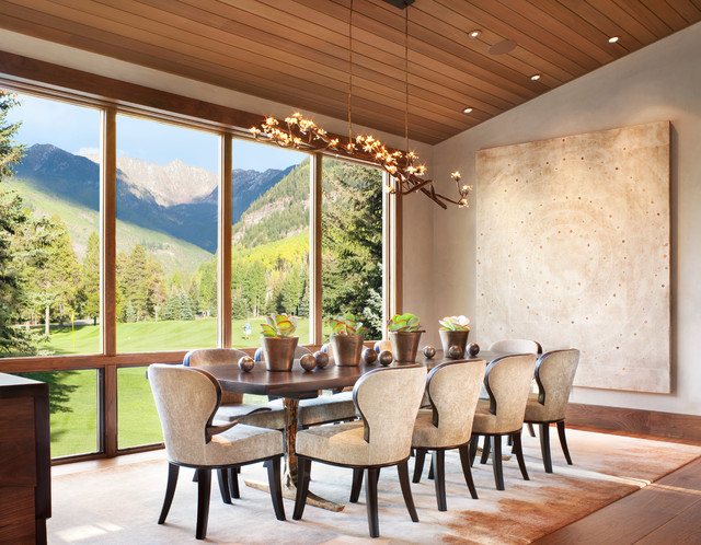 Vail Mountain Modern Residence rustic-dining-room