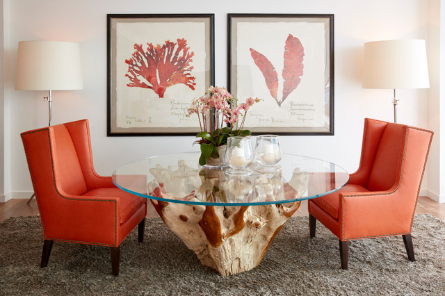 South Florida Condo Chic Tropical Dining Room Miami by