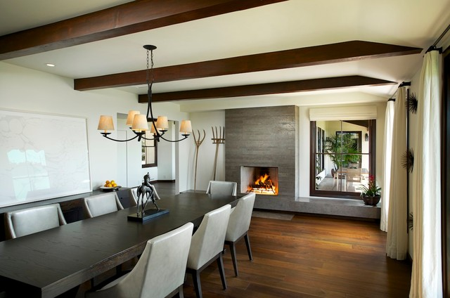 Trendy Dark Wood Floor Dining Room Photo In Los Angeles With White Walls And A Standard