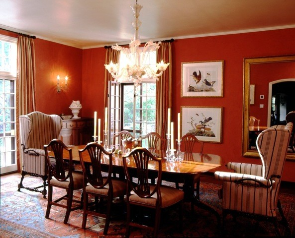 Red bathroom decorating ideas - Spanish Colonial Dining Room Westchester County Ny