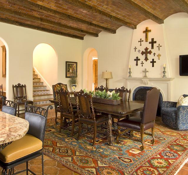 vaulted ceiling remodeling ideas - Spanish Mediterranean Mediterranean Dining Room