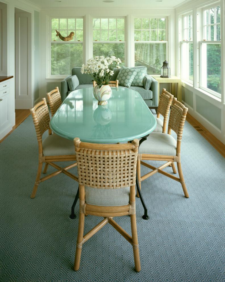 Elegant medium tone wood floor enclosed dining room photo in Boston