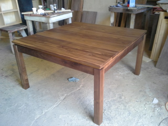 Square walnut table dining table contemporary dining for Dining room tables los angeles