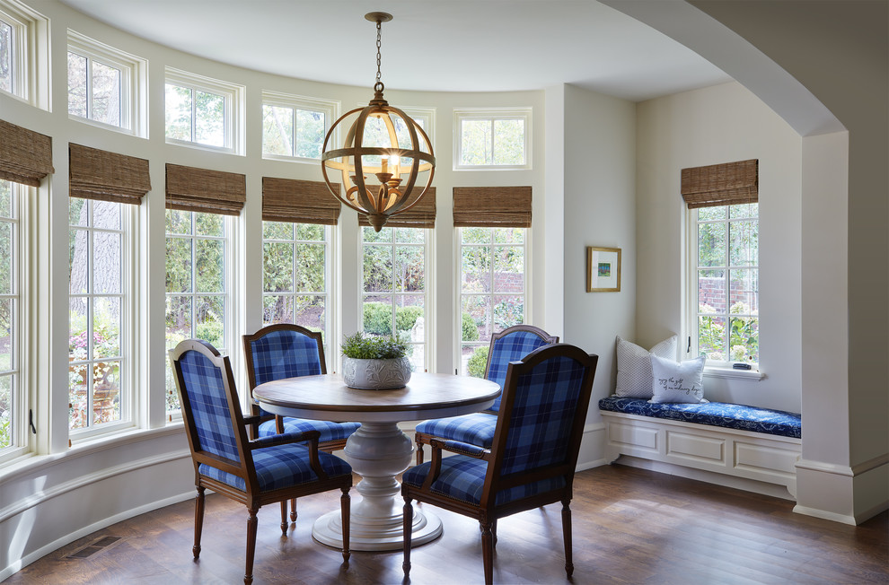 Dining room - french country dark wood floor and brown floor dining room idea in Minneapolis with white walls