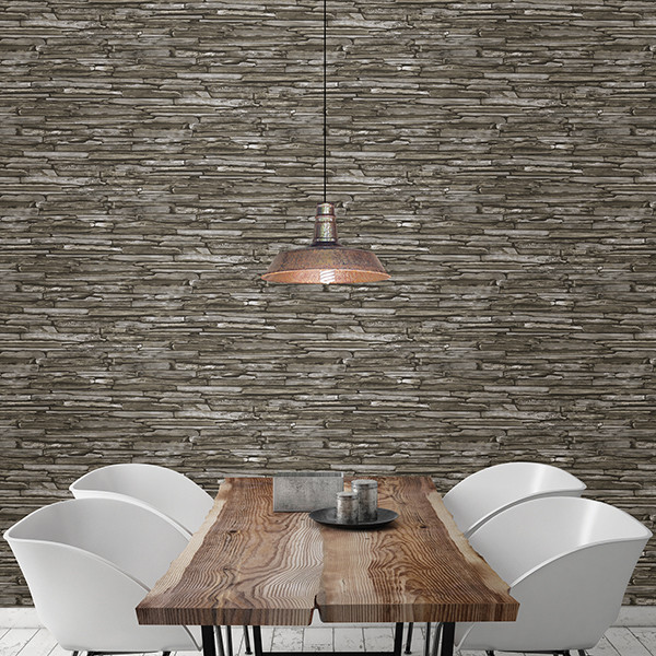 Stacked Slate Green Industrial Wallpaper - Industrial - Dining Room ...