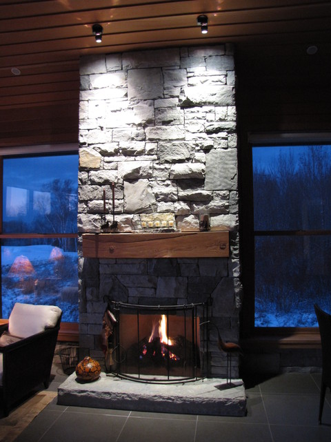 stone fireplace asian-dining-room