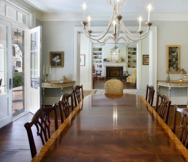 ethan allen dining room sets. Inspiration for a large timeless dark wood floor and brown dining room  remodel in Nashville Ethan Allen Dining Table Houzz