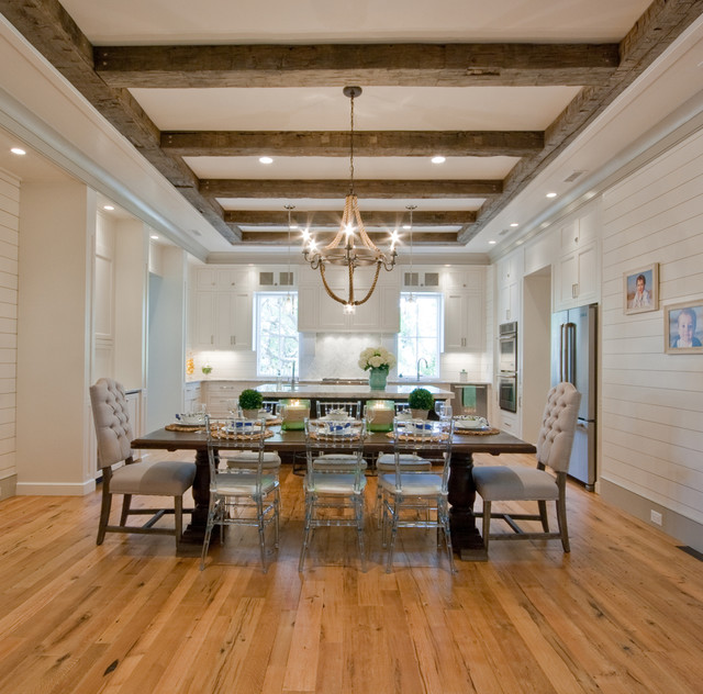 Elegant Medium Tone Wood Floor Kitchen Dining Room Combo Photo In Charleston With White Walls