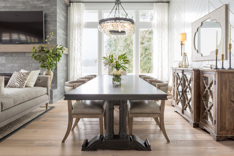Transitional dining room photo in Portland