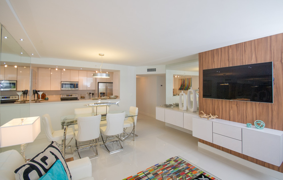 Kitchen/dining room combo - small modern porcelain tile and white floor kitchen/dining room combo idea in Miami with white walls and no fireplace