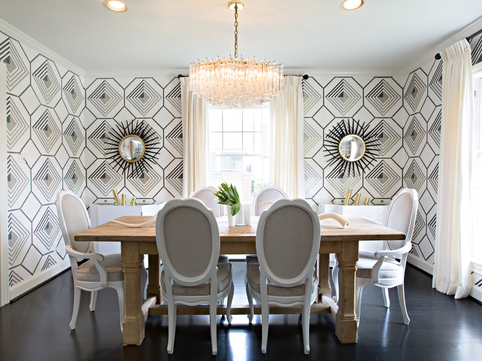 Inspiration for a mid-sized contemporary dark wood floor dining room remodel in Houston with multicolored walls