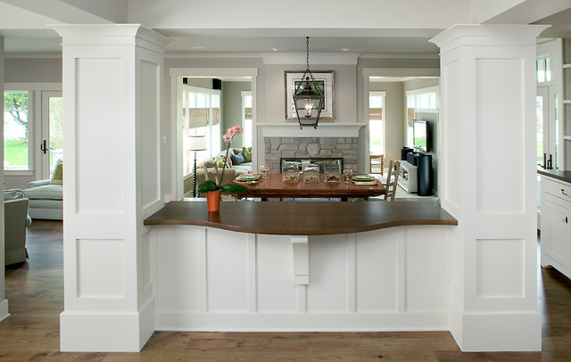 Inspiration For A Large Transitional Medium Tone Wood Floor Great Room Remodel In Grand Rapids With