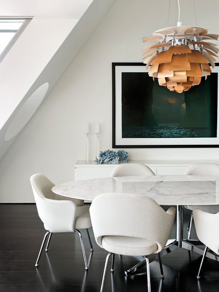 Dining room - contemporary dark wood floor dining room idea in Sydney with white walls and no fireplace