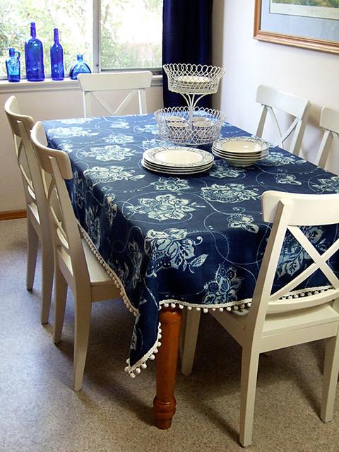 Tablecloth With Pom Pom Trim