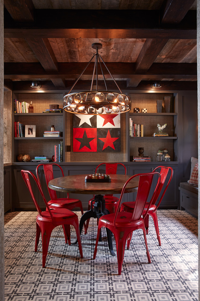 Inspiration for a rustic carpeted dining room remodel in San Francisco