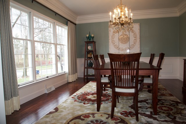 Kitchen/dining room combo - transitional dark wood floor kitchen/dining room combo idea in Indianapolis with green walls
