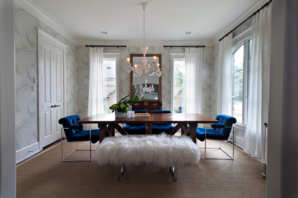 Example of a transitional enclosed dining room design in Houston