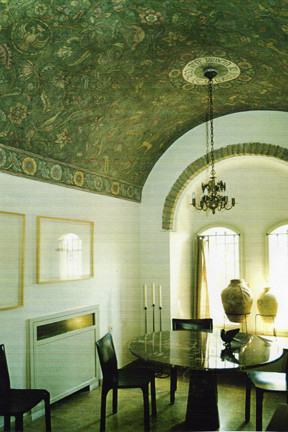 Tapestry Ceiling Mural eclectic-dining-room
