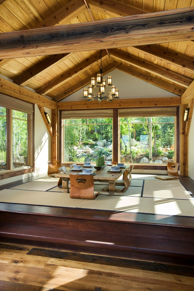 Inspiration for a zen dark wood floor dining room remodel in Denver with beige walls and no fireplace