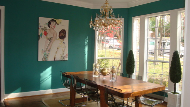 Teal dining room eclectic dining room dallas by for Teal dining room decorating ideas