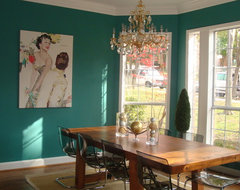 Teal Dining Room eclectic dining room