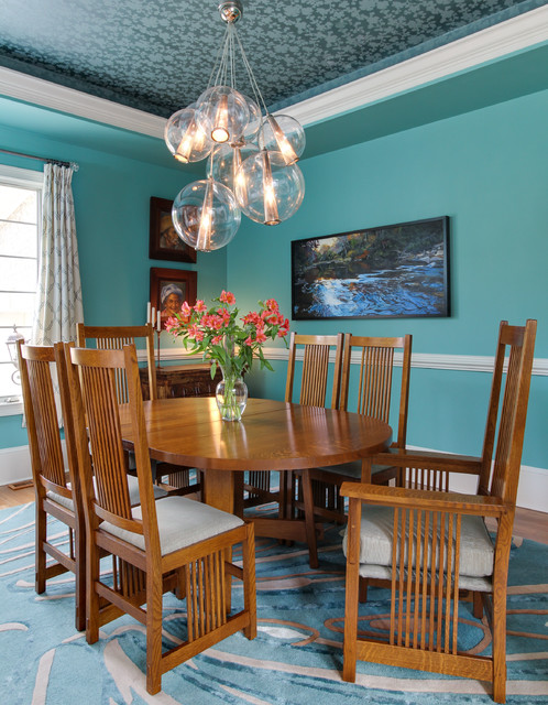 teal interior design transitional dining room