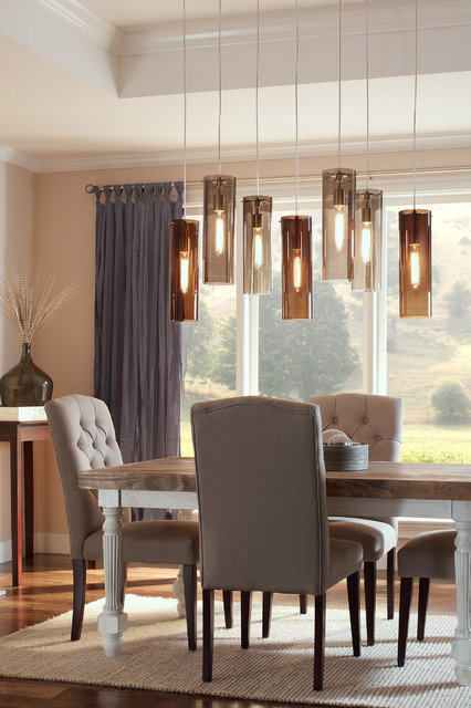 Tech lighting 700tdbcnpbs beacon pendant w havana brown shade contemporary dining room - Modern pendant lighting for dining room ...