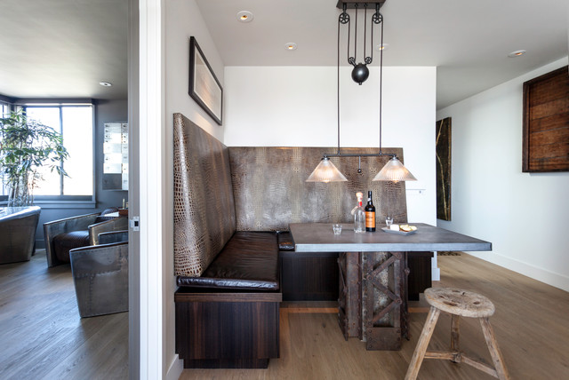 Example Of An Urban Medium Tone Wood Floor Dining Room Design In San  Francisco With White