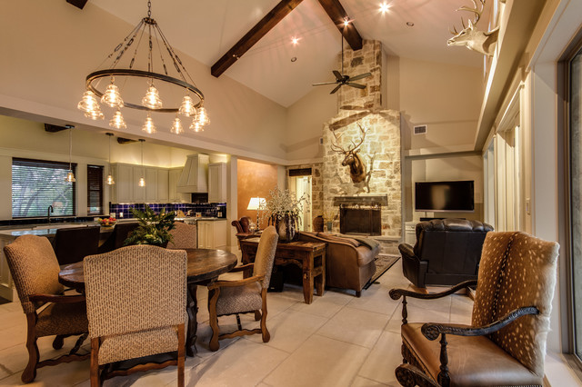 Texas Hill Country Man Space Traditional Dining Room