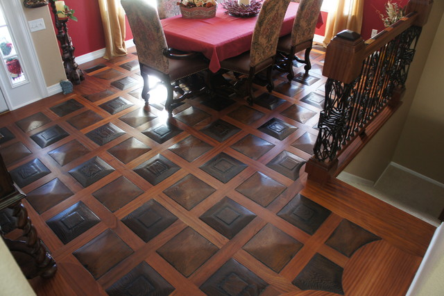 Textured And Patterned Flooring Traditional Dining Room Denver