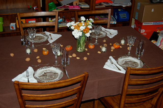 traditional dining room Thanksgiving Tablescape